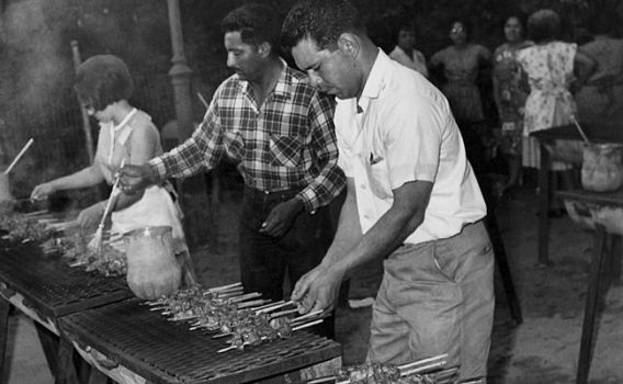 Anticuchos Being Made At NIOSA in 1967. Photo Credit MySanAntonio.com