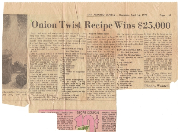 A Scan Of Mom's Onion Lover's Twist Recipe