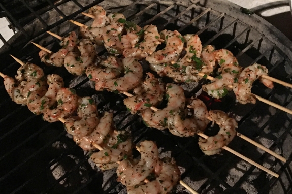 barbequed shrimp on the grill from betty's cook nook