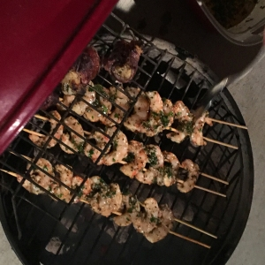 barbequed shrimp on the grill