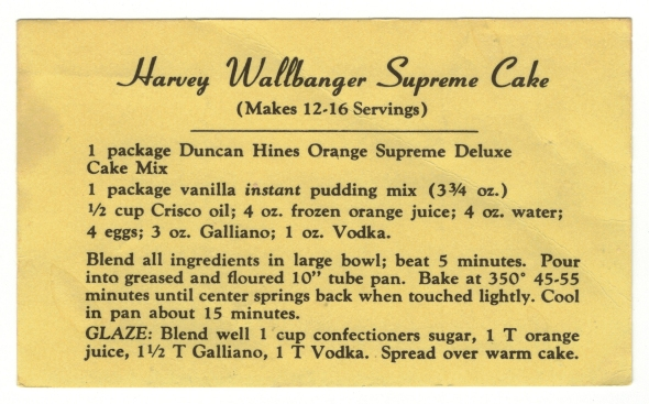 Harvey Wallbanger Supreme Cake Recipe