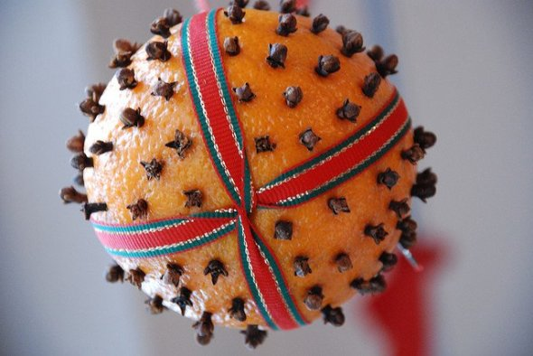Pomander Ball With Red And Green Ribbon