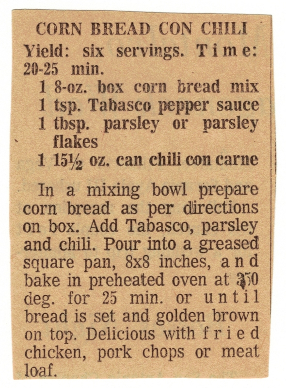 Cornbread Con Chili Recipe