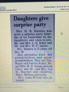 December 28, 1974 Daughters Give Surprise Party in San Antonio