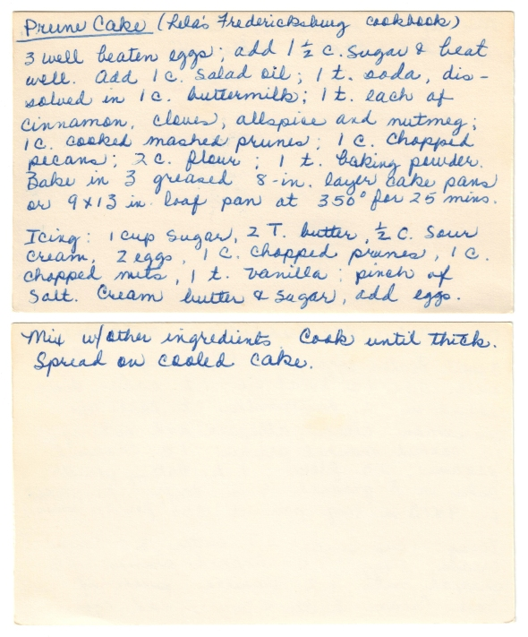 A Scan Of Mom's Prune Cake Recipe