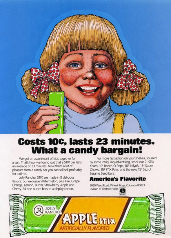 Jolly Rancher Apple Stix Vintage Print Ad